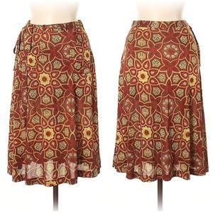 Nieves Lavi Floral Print Silk Skirt